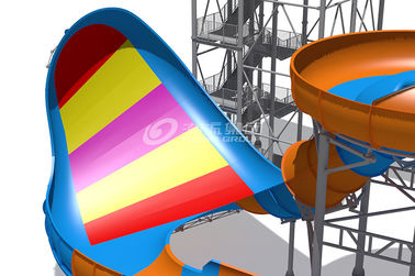 Giant Outside Fiberglass Water Slide For Adults Customized Color 20m Tower Height