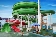 Chiny Green Big Commercial Pool Water Slides For Theme Park / Backyard Water Slides Kids firma