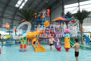 Interactive Fiberglass  Water House / Slide Toddler Playground Equipment  for Water Park 150 Riders / Time